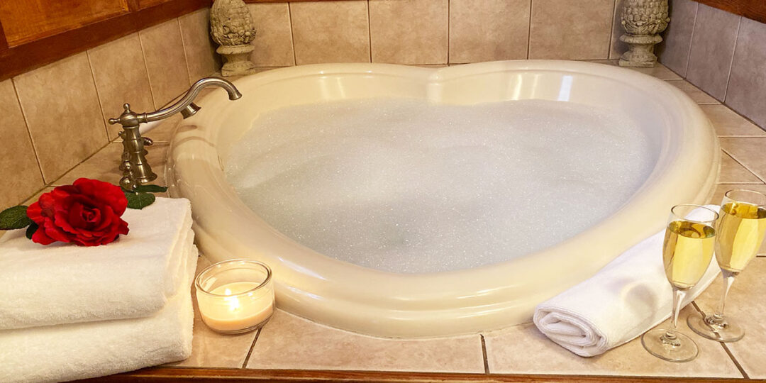 Heart shaped whirlpool tub for two at The Gables Inn