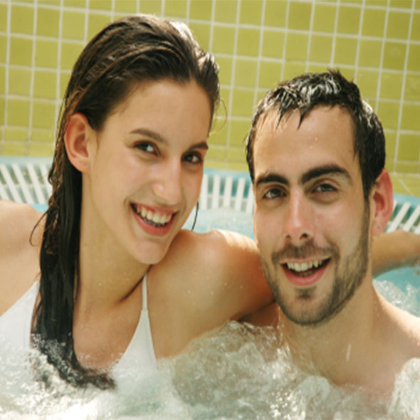 Couple in private bath