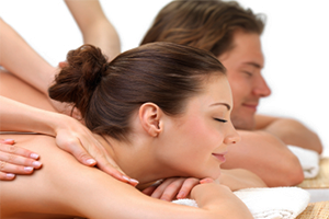 Two people getting a massage