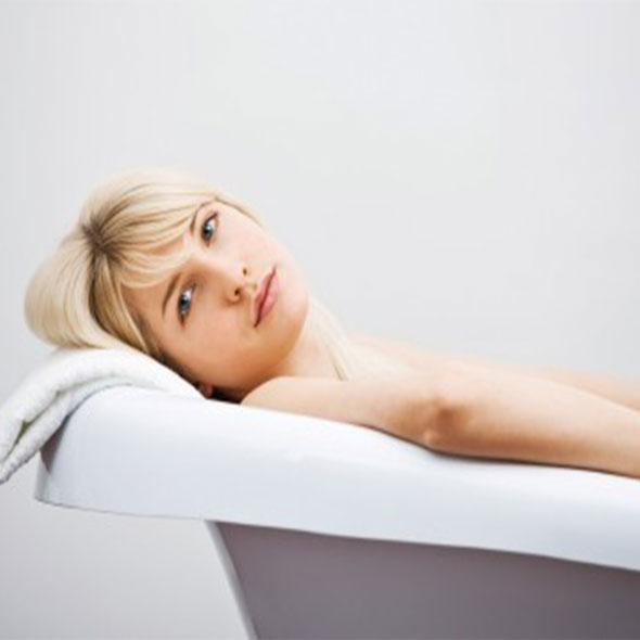 woman in antique tub