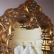 Ornate mirror at The Gables Inn