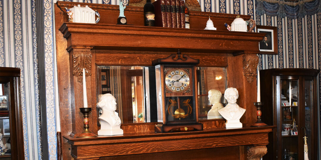 Fireplace mantel in the study of The Gables Inn
